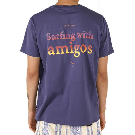 Pukas Pocket Surfing with Amigos Mens Tee - Ultra Violet
