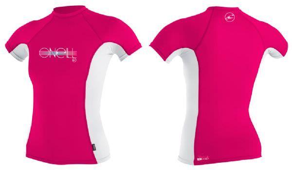 O'Neill Girls Skins Rash Vest - Pink/White
