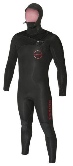 C skins flexible 5/4mm hooded winter black wetsuit