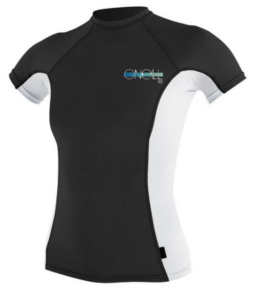 O'Neill Ladies Skins S/S Crew Rash Vest - Black