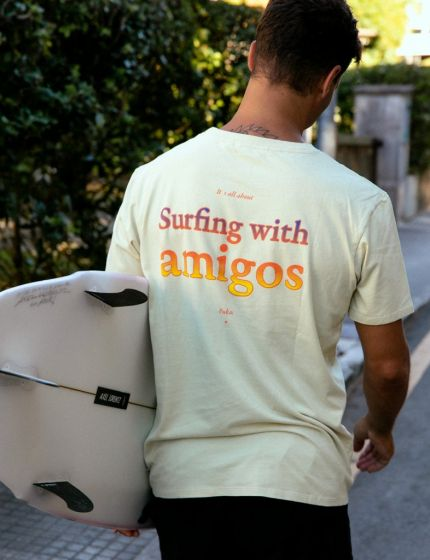 Pukas Surfing with Amigos Mens Pocket Tee - Pale Yellow