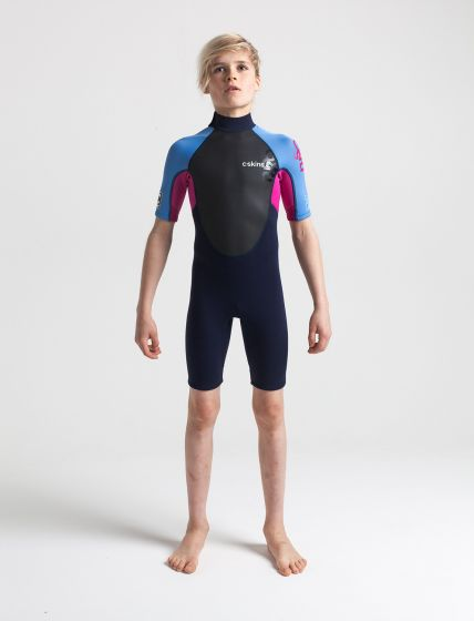 C Skins Element 3/2mm Shorty Youth Wetsuit 2020 - Slate / Magenta