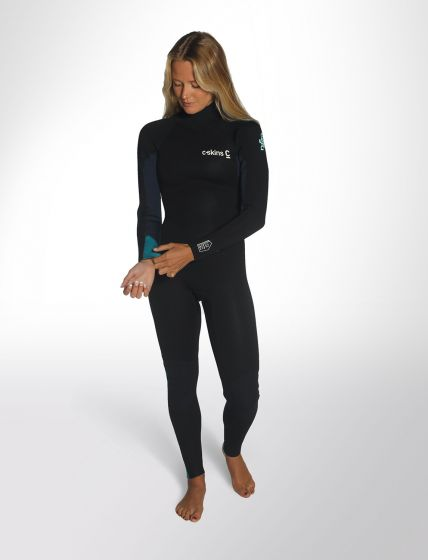 C skins surflite 5/4/3mm womens back zip wetsuit front preview