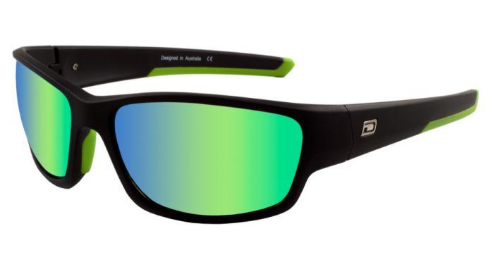 Dirty Dog Sport Chain Polarised Sunglasses - Satin Black/Green Fusion