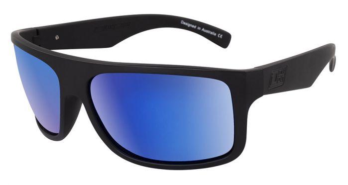 Dirty Dog Anvil Polarised Sunglasses - Satin Black/Blue Fusion