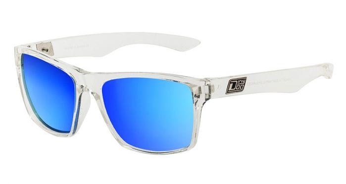 Dirty Dog Vendetta Polarised Sunglasses - Crystal/Blue Mirror