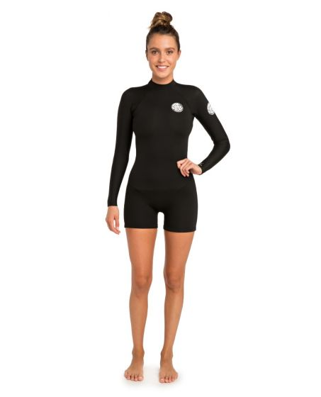 Rip Curl Womens GBomb 2/2mm Long Sleeve Shorty Wetsuit 2021 - Black - Front