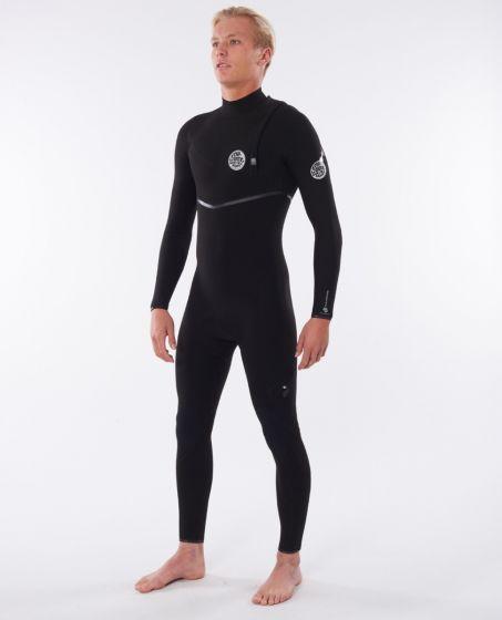 Rip Curl Men's Flash Bomb 3/2mm Zip Free Winter Wetsuit - Black - Front