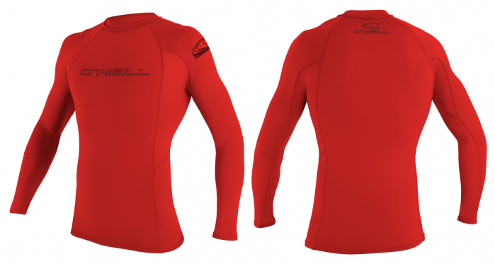 O´Neill Skins Mens Long Sleeve Rash Vest 2016 - Red