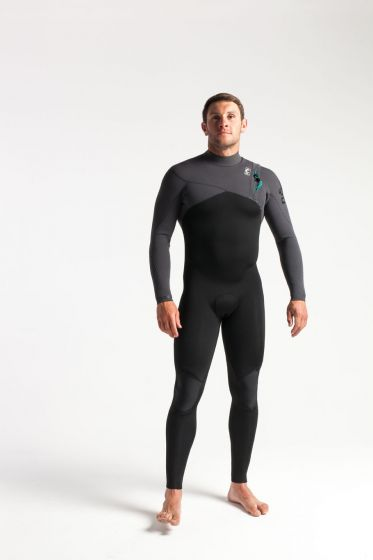 C Skins Rewired 3/2mm Zip Free Wetsuit 2021 - Black / Meteor