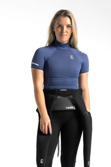 C Skins X Womens Short Sleeve Rash Vest - Denim