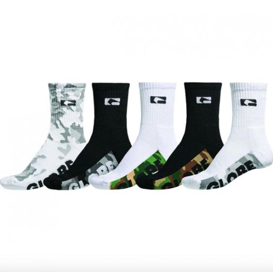 Globe Malcom Crew Sock 5 Pack in Camo