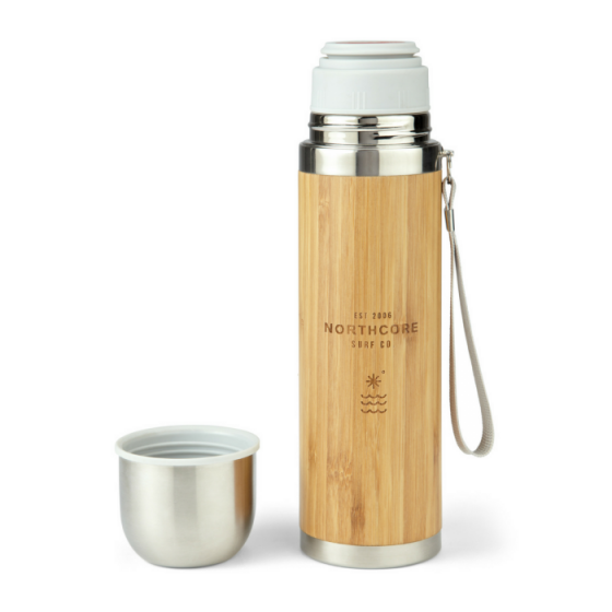 Northcore Bamboo Stainless Steel Thermos Flask with Mug - 360ml - Full View