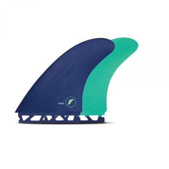 Futures Akila Fibreglass Twin Fins in Blue/Green
