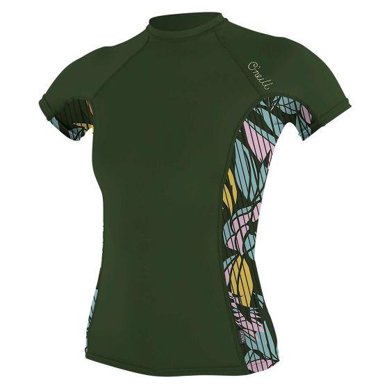 O'Neill Side Print Womens Rash Vest 2021 - Dark Olive