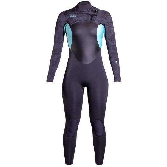 Xcel Axis X 3/2mm Chest Zip Womens Wetsuit - Graphite/Pistachio