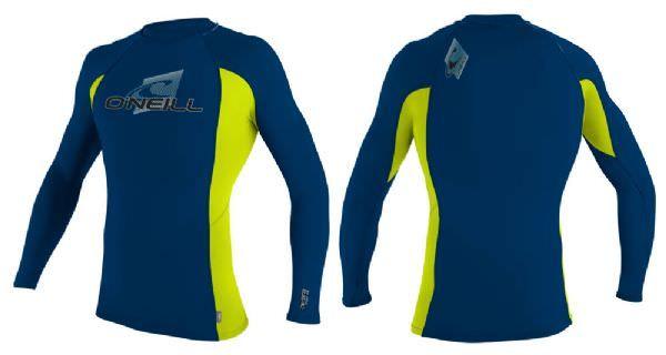 O'Neill Youth Skins Long Sleeve Rash Vest 2014 - Blue/Green