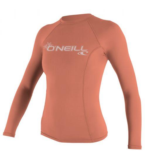 O'Neill Basic Skins Womens Long Sleeve Rash Vest in Light Grapefruit