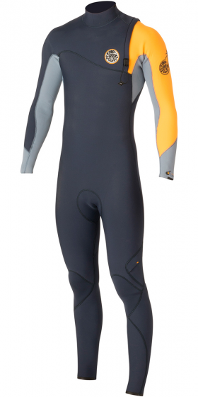 Rip Curl ZIP FREE Mens Flash Bomb 3/2mm Wetsuit 2016 - Slate