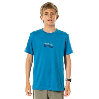 Rip Curl Wavey Logo Boys T-Shirt - Ocean Blue - Front