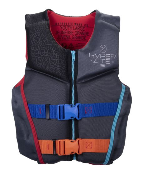 Hyperlite Boys Youth Indy CGA Neo Impact Vest 2021 - Grey - Front