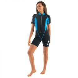 SEAC Ciao 2/5mm Womens Shorty Wetsuit 2021 - Black/Blue - Front
