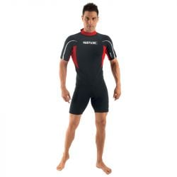 SEAC Relax 2/2mm Mens Shorty Summer Wetsuit 2021 - Black/Red - Front