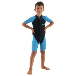 SEAC Dolphin Boy 1/5mm Shorty Wetsuit 2021 - Black/Blue  - Front
