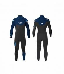 Tiki  Mens Tech 3/2mm Chest Zip Wetsuit 2021 - Black/Blue - Front and Back