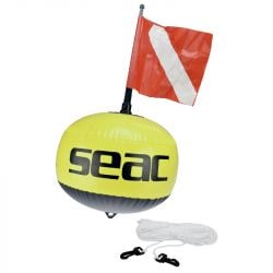SEAC Fluo Buoy With Flag And Line 2021 - Yellow - Full View