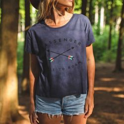 Passenger Clothing Jinbei Recycled Cotton  Womens T-Shirt - Blue Nights - Front
