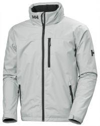 Helly Hansen Mens Crew Hooded Sailing Jacket 2021 - Grey Fog - Front