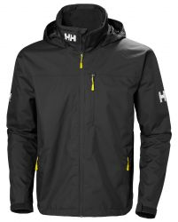 Helly Hansen Mens Crew Hooded  Sailing Jacket 2021 - Black - Front