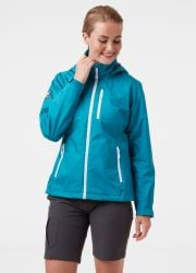 Helly Hansen Womens Crew Hooded  Sailing Jacket 2021 -  Teal  - On Body Front
