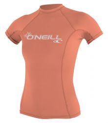 O'Neill Womens Basic Skins  Short Sleeve Rash Vest 2021 - Light Grapefruit