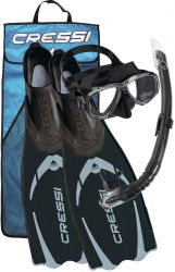 Cressi Pluma Snorkel/Mask and Fins Combo - Black