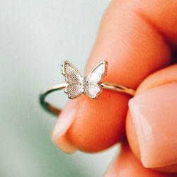 Pura Vida Butterfly in Flight Ring in Silver