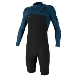 O'Neill Hyperfreak 2mm Long Arm Chest Zip Shorty Wetsuit 2021 - Acidwash / Abyss