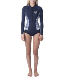Rip Curl G Bomb 1mm Long Sleeve Booty Cut Shorty Wetsuit 2021 - Dark Blue - Front