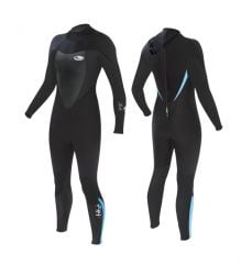 Tiki Tech 4/3mm Womens Winter Wetsuit 2021 - Black/Blue - Back and Front View