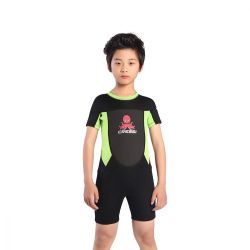 Cressi Smoby Junior Shorty Wetsuit 2021 - Black/Fluro Green - Front