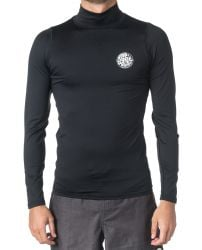 Rip Curl Corpo Long Sleeve High Neck Mens Rash Vest 2021 - Black