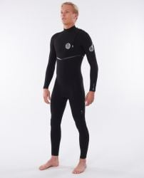 Rip Curl Men's Flash Bomb 3/2mm Zip Free Winter Wetsuit - Black - Front