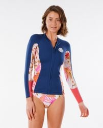 Rip Curl Womens Dawn Patrol 1.5mm Long Sleeve Wetsuit Jacket 2021 - Blue/Pink - Front