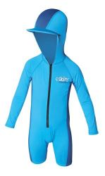 C Skins UV Long Sleeve Kids Hooded Sun Swimsuit - Blue