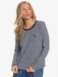 Roxy Women's Feel Sand Long Sleeve T-Shirt in Mood Indigo Stripes