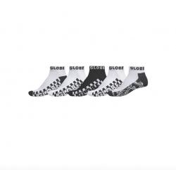 Globe Strobe Ankle Sock 5 Pack - Black/White