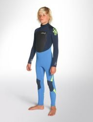 C Skins legend 5/4mm junior back cyan ink blue and yellow colour zip wetsuit
