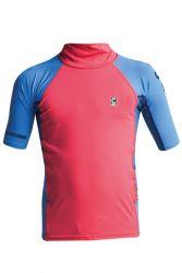 C Skins X Junior Short Sleeve Rash Vest - Pink/Blue