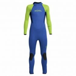 Xcel Axis 4/3mm Back Zip Youth Wetsuit 2022 - Blue/Fluro Green - Full View